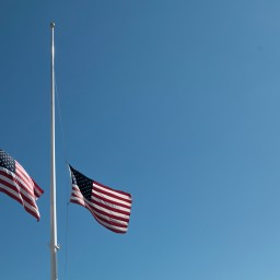 Flags across the country are lowered to half staff after the mass shooting in Las Vegas that killed 50+ and injured 500+ people on Oct. 1, 2017.