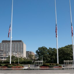 Flags outside The Kennedy Center in Washington, D.C. are lowered to half staff following the mass shooting in Las Vegas on Oct. 1, 2017.