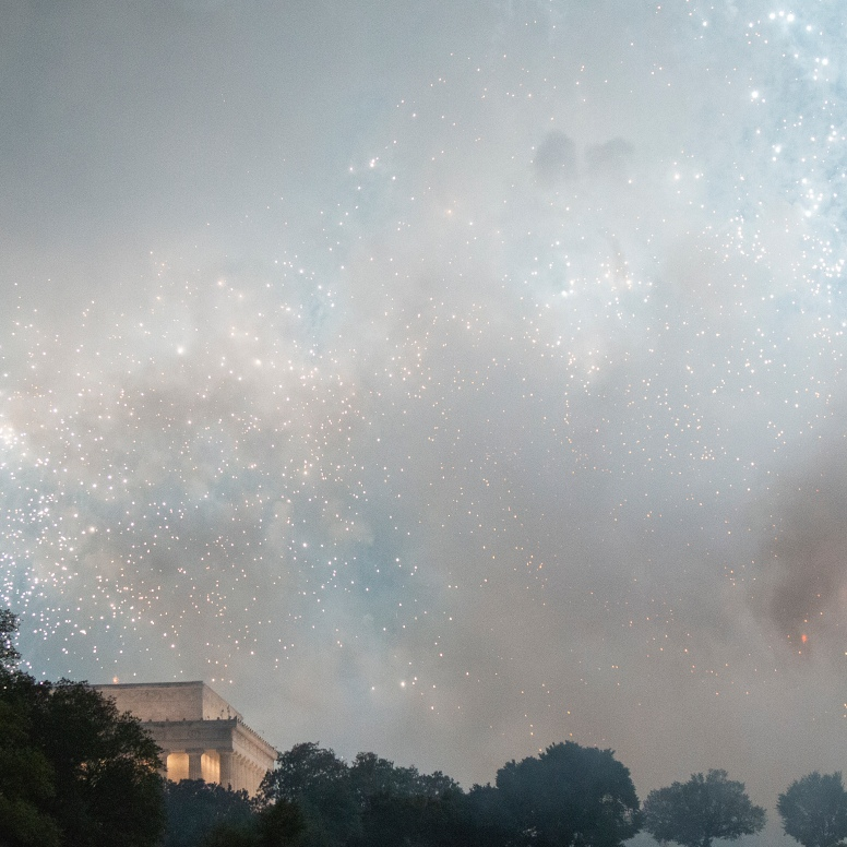 Fireworks were launched from a new location on the National Mall (behind the Lincoln Memorial instead of in front of it) following President Donald Trump's 'Salute to America' July 4th celebration.
